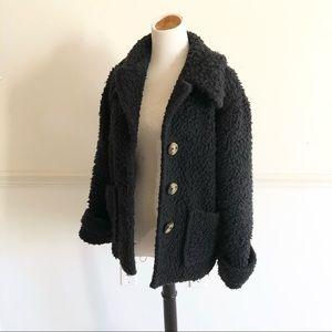 Free People Black Woolley Teddy coat Small